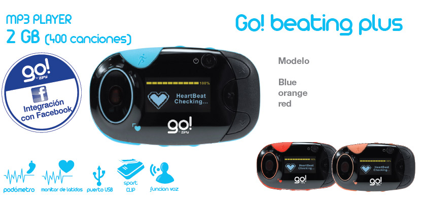 MP3 Go Beating Plus 2G-Azul-Naranja-Rojo