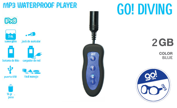MP3 Go Diving resistente al agua 2 gigas azul