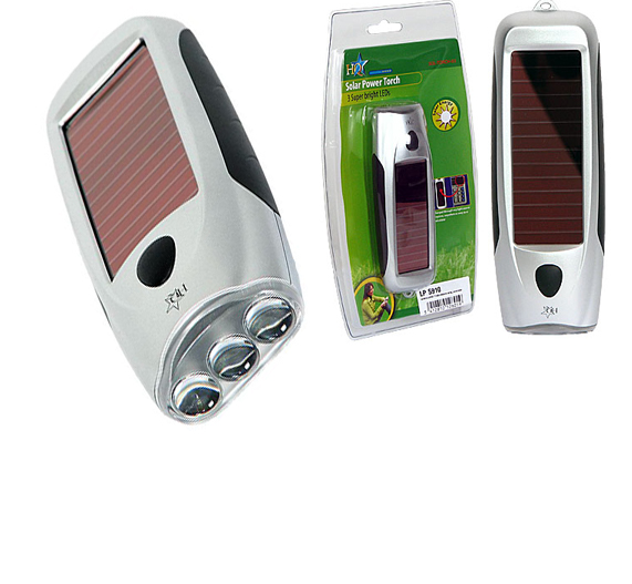 3 LED portable lamp with battery and solar panel
