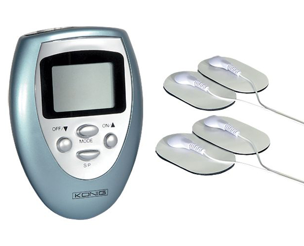 Electronic massager with 4 electrodes and control unit with LCD